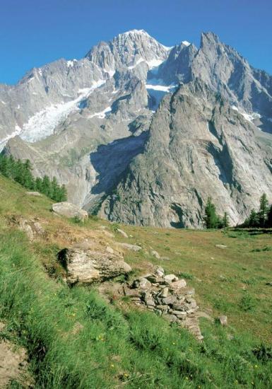 Le Mont-Blanc vu de l'alpe de Maison-Vieille (Val Veny)