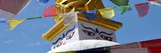 Détail d'un des stupas périphériques de Bodnath