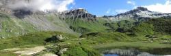 Le col d'Anterne vu depuis le lac de Pormenaz