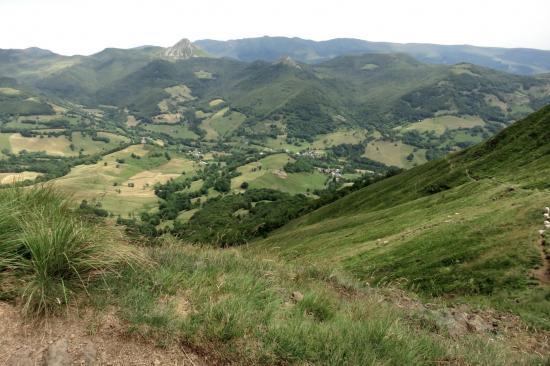 La vallée de la Jordanne et le Puy Griou vus depuis la crête SW du Puy Chavaroche