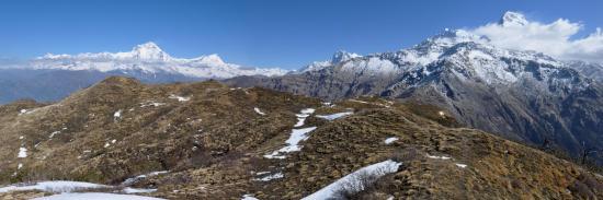 Le panorama depuis le Muldhai peak (de la Putha Hiunchuli à l'Annapurna S)