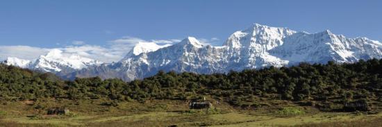 De la Pyutha Hiu Chuli au Gurja himal, la vue depuis le Jalja La a de la gu...