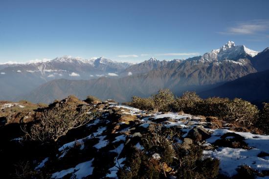 Lever de soleil à Baramji phedi, l'Himalaya du Langtang au Gaurishankar