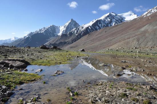 Haute vallée de la Shingri Chu - Le lac, miroir des montagnes
