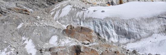La partie la plus délicate pour l'accession au glacier du Mera La : la remontée du chaos morainique à gauche