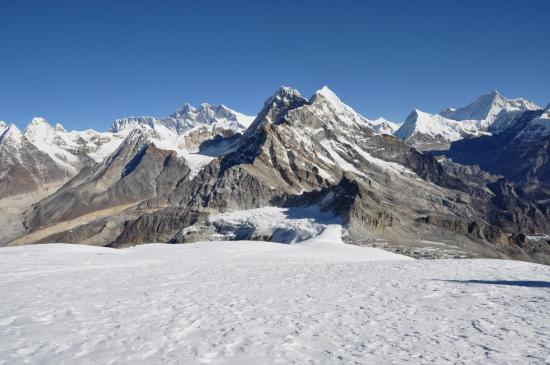Depuis le Mera peak HC, trois 8000 : Sagarmatha, Lhotse et Makalu