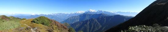 Panorama du Gaurishankar à l'Everest depuis le col au S du Pike peak II