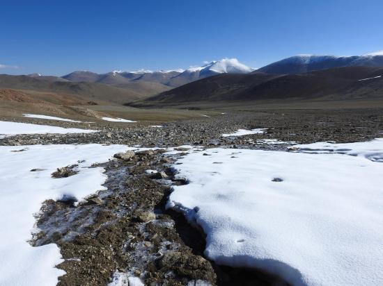 Vue arrière en direction du N lors de la remontée du plateau humide conduisant au pied du Tsomo Riri view peak