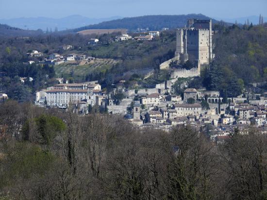 Vue lointaine sur la vieille ville de Crest (et son célèbre donjon...)