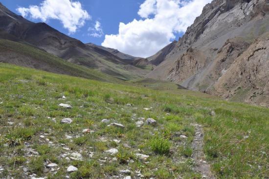 La longue vallée qui conduit au pied du Pandang La