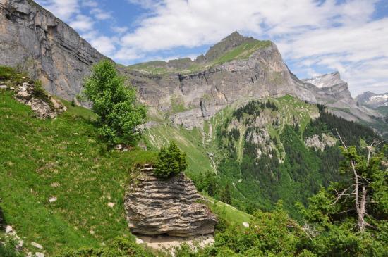 Vue sur le Dérochoir depuis les hauteurs de Frioland