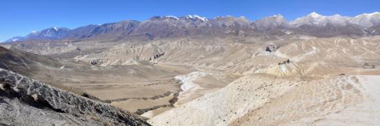 Panorama sur le bassin de la Nyichung khola au N de Lo Monthang (Mustang - Népal)