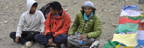 Une partie de l'équipe ladakhie : Rintsen, Mutup et Minup