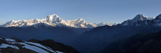 La chaîne du Dhaulagiri himal vue depuis Khopra danda (Népal)