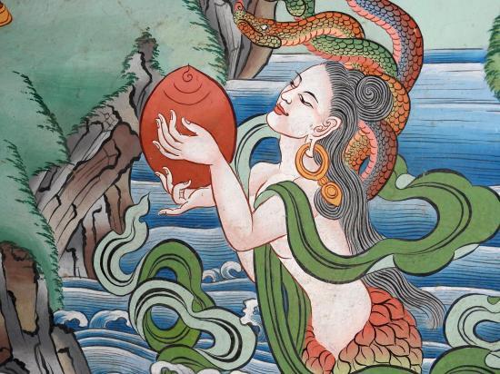Détail des peintures de Norbu à la gompa de Saldang