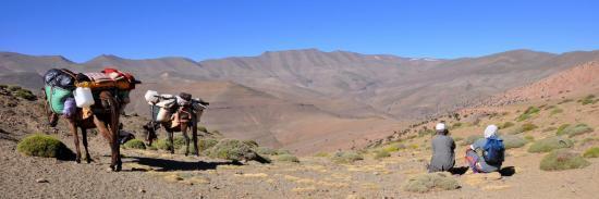 Pendant la GTAM3, vue sur les plateaux entre Tafraout et le tizi n'Tighboula