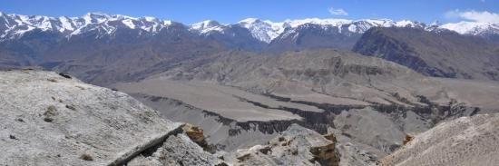 Le plateau entre Tangge et Yara vu depuis le sentier des crêtes de Tsarang à Dhigaon