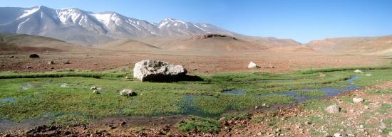 Le plateau de Tarkedit au pied de la chaîne du M'Goun.