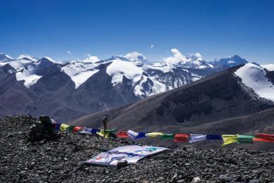 Au sommet du Gaugiri avec à l'horizon Annapurna I (photo Marinus van Breugel)