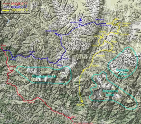 Carte du trek Dhorpatan-Dolpo-Mustang