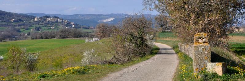 En fin de randonnée à l'approche de Toulaud