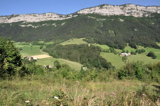 La falaise dans laquelle s'effectue la descente du Pas de la Chèvre vue des Rimets
