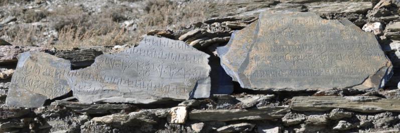 Détail d'un mur de manis à Gharen