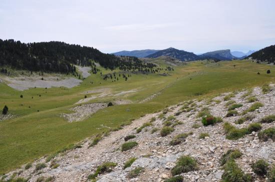 Vue arrière sur la plaine de la Queyrie depuis les pentes sous le Pas des Bachassons