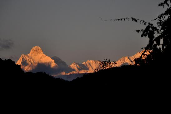 Depuis Deurali, coucher de soleil sur le Jannu