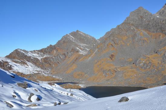Vue arrière depuis le col du Panch pokhari pass