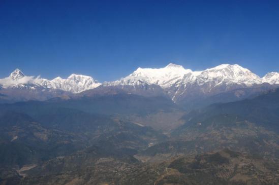La chaîne de l'Annapurma vue d'avion