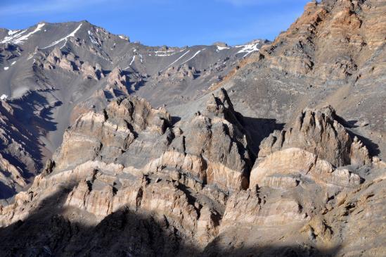 Depuis les alpages du Phuktal La BC, soleil couchant sur les paysages minéraux du Zangskar