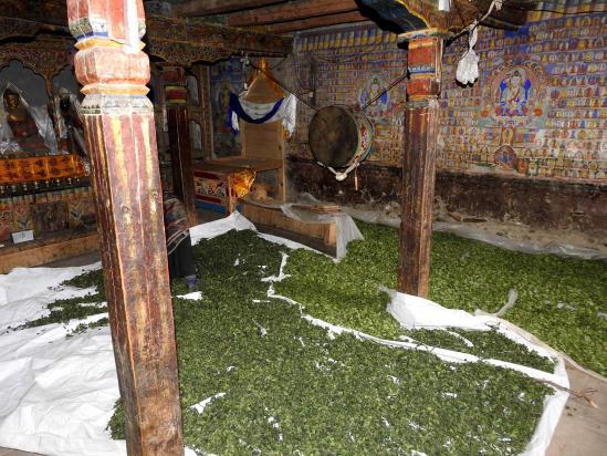 L'intérieur de la gompa Bön de Schipsho (accessoirement entrepôt pour le séchage des orties...)