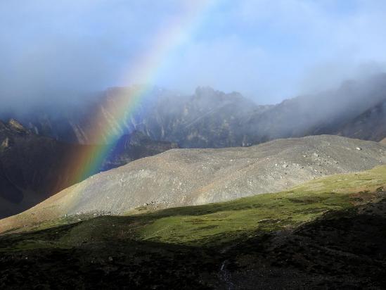 Au matin, arc-en-ciel à Lajar Sumna