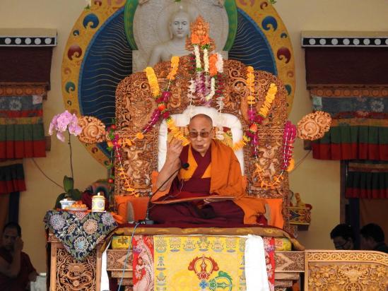 Le Dalaï Lama lors d'un enseignement à Leh fin juillet 2018