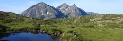 Le massif du Taillefer vu depuis le lac de l'Infernet