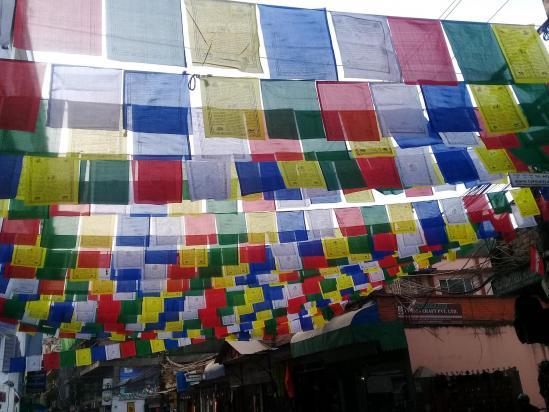 Déploiement de guirlandes de drapeaux dans les rues de Thamel (Katmandou)