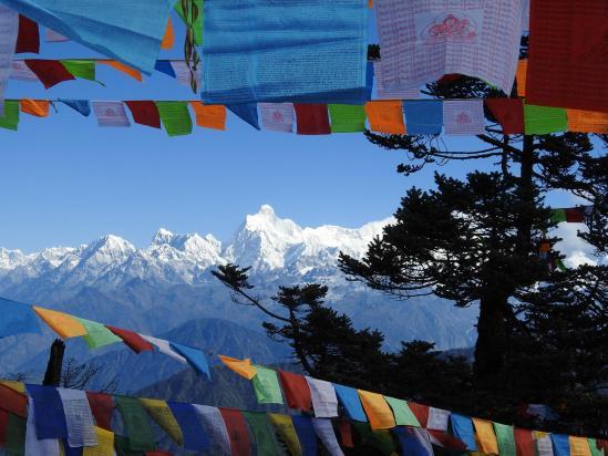 Le massif du Kangchenjunga vu depuis l'itinéraire d'ascension
