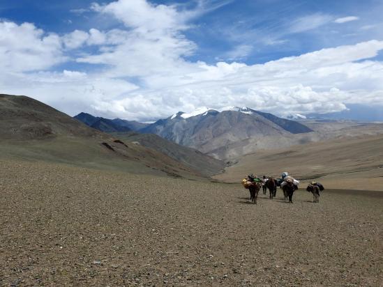 Dans la descente du Zildal La avec le massif du Chalung en point de mire