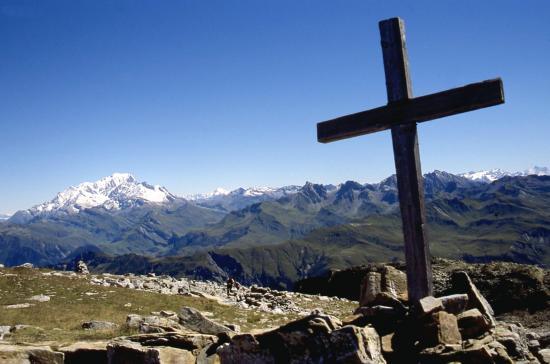 Au sommet du Grand Mont (le Mont-Blanc à l'horizon)