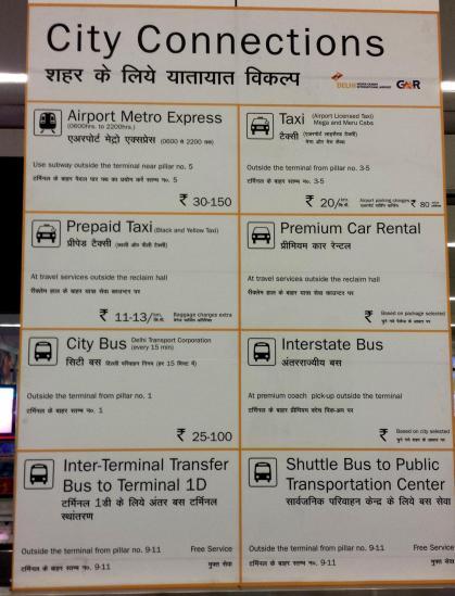 Les transports en commun depuis le T3 de l'I.G.I.A de New-Delhi