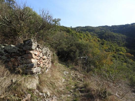 Sur le sentier pavé de montée vers Chalencon