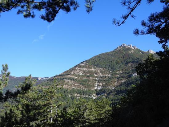 Le But de l'Aiglette vu depuis la montée au rocher de la Cru