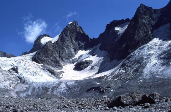 Depuis le refuge de la Selle, le glacier de la Selle et les Têtes du Replat
