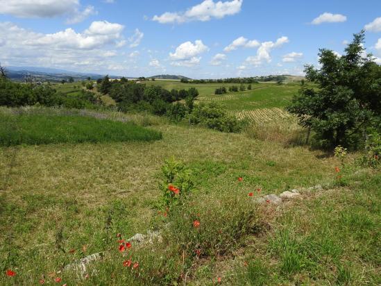 Panorama étendu vers l'ouest depuis l'entrée du hameau du Bret