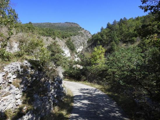 Sur la route des descente du Pescher dans les gorges d'Omblèze
