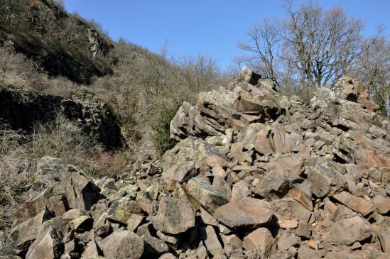 Les éboulis de basalte au-dessus du ravin des Echelles