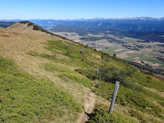 Descente depuis le sommet du Puy de la Gagère (plateau de Vassieux)
