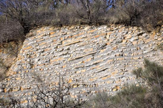 Les strates calcaires du ravin des Communes