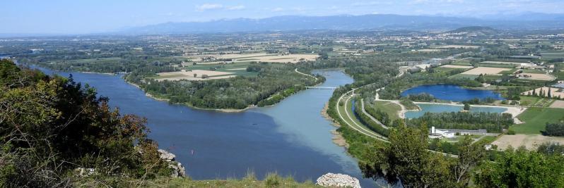 la confluence Rhône - Drôme vue depuis le Couvent des Chèvres
